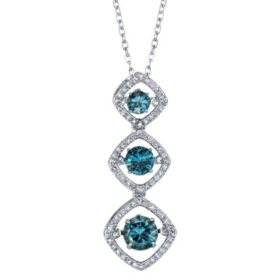 Sterling Silver London Blue Topaz and 0.18 CT. T.W. Diamond Dancing Pendant