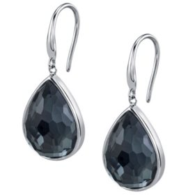 Hematine and White Quartz Doublet Drop Earrings in Sterling Silver