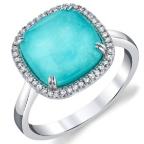 Arizona Turquoise and 0.11 CT. T.W. Diamond Doublet Ring in Sterling Silver