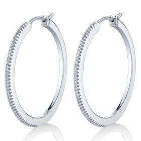 Sterling Silver 0.25 CT. T.W. Diamond Hoop Earrings