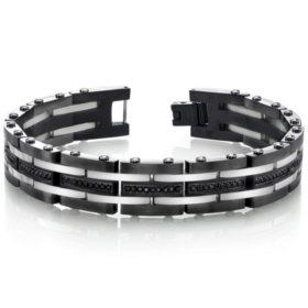 Men's Spartan Stainless Steel Black Spinel Two Tone Bracelet