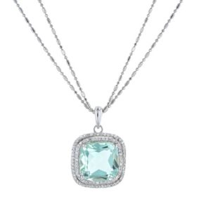 8.25 CT. T. W. Prasiolite Cushion Cut Silver Pendant with .75 CT. T.W. White Sapphire