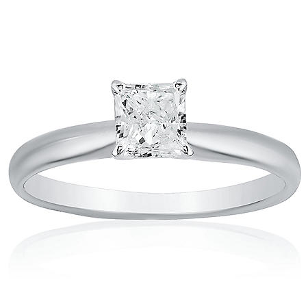 Superior Quality Collection 1 CT. T.W. Princess Shaped Diamond Solitaire Ring in 18K White Gold (I, VS2)