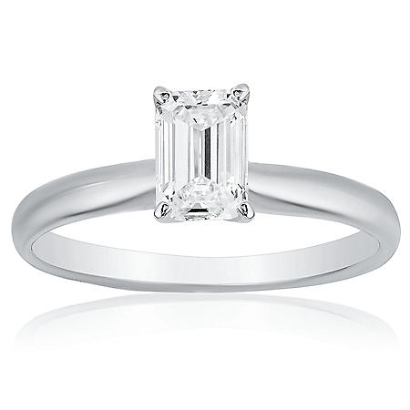 Superior Quality Collection 1 CT. T.W. Emerald Shaped Diamond Solitaire Ring in 18K White Gold (I, VS2)