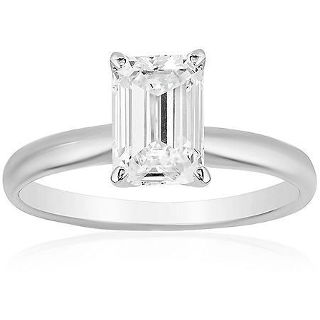 Superior Quality Collection 1.5 CT. T.W. Emerald Shaped Diamond Solitaire Ring in 18K White Gold (I, VS2)