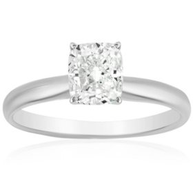 Superior Quality Collection 1 CT. T.W. Cushion Shaped Diamond Solitaire Ring in 18K Gold (I, VS2)
