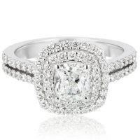 Superior Quality Collection 1.73 CT. T.W. Cushion Shaped Diamond Engagement Ring in 18K Gold (I, VS2)