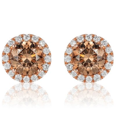 2 3 Ct T W Round Fancy Brown Diamond Stud Earrings In 14k Rose Gold I Si2 Sam S Club