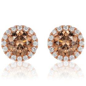 2.3 CT. T.W. Round Fancy Brown Diamond Stud Earrings in 14K Rose Gold (I, SI2)