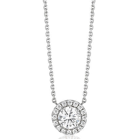 Superior Quality Collection 0.60 CT. T.W. Round Diamond Pendant in 18K White Gold (I, VS2)