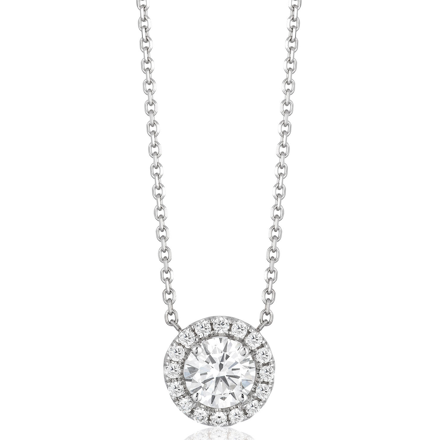 Superior Quality Collection 0.60 CT. T.W. Round Diamond Pendant in 18K White Gold (I, VS2) (NK8W0357/050 SC)