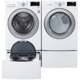 LG 4.5 cu. ft. Front Load Washer & 7.4 cu. ft. Dryer on SideKick Pedestal - Graphite Steel