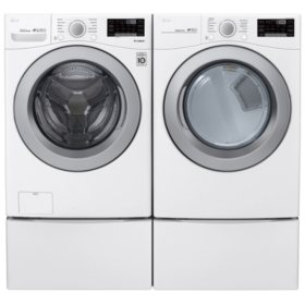 LG 4.5 cu. ft. Front Load Washer & 7.4 cu. ft. Dryer on Pedestals - Graphite Steel