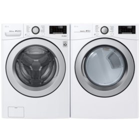 LG - WM3500CW and DLE3500W - Large Capacity Front Load Washer and Dryer Suite - White