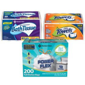 Member's Mark Premium Paper Towel, Bath Tissue and Power Flex Tall Kitchen, Fresh Clean