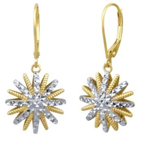 Diamond Cut Star Earrings in 14k Two-Tone Gold