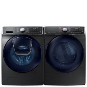SAMSUNG AddWash Front Load Washer and Electric Dryer - Black Stainless Steel - WF45K6500AV, DV45K6500EV