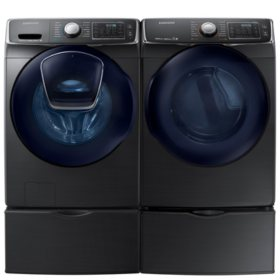 SAMSUNG AddWash Front Load Washer and Gas Dryer with Pedestals - Black Stainless Steel - WF45K6500AV, DV45K6500GV, WE357A0V