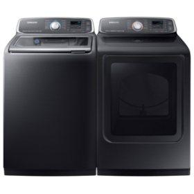 SAMSUNG Activewash Top Load Washer and Gas Dryer - Black Stainless Steel - WA52M7750AV, DVG52M7750V