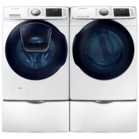 SAMSUNG AddWash Front Load Washer and Gas Dryer with Pedestals - White - WF45K6500AW, DV45K6500GW, WE357A8W