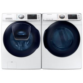 SAMSUNG AddWash Front Load Washer and Gas Dryer - White - WF45K6500AW, DV45K6500GW