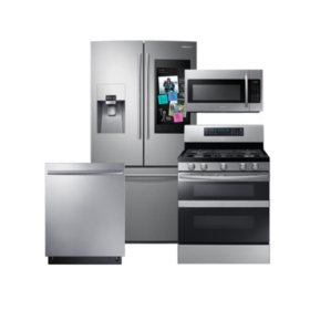 SAMSUNG Family Hub ™ Refrigerator, Flex Duo™ Gas Range, Microwave, and Dishwasher Package - Stainless Steel - RF265BEAESR, ME18H704SFS, NX58M6850SS, DW80K7050US