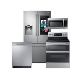 SAMSUNG Family Hub ™ Refrigerator, Flex Duo™ Electric Range, Microwave, and Dishwasher Package - Stainless Steel - RF265BEAESR, ME18H704SFS, NE59M6850SS, DW80K5050US