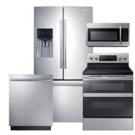 SAMSUNG 3-Door Refrigerator, Flex Duo™ Electric Range, Microwave, and Dishwasher Package - Stainless Steel - RF263BEAESR, ME18H704SFS, NE59M6850SS, DW80K7050US
