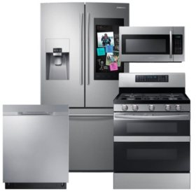 SAMSUNG Family Hub ™ Refrigerator, Flex Duo™ Gas Range, Microwave, and Dishwasher Package - Stainless Steel - RF265BEAESR, ME18H704SFS, NX58M6850SS, DW80K5050US