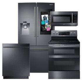 SAMSUNG Family Hub ™ Refrigerator, Flex Duo™ Electric Range, Microwave, and Dishwasher Package - Black Stainless Steel - RF265BEAESG, ME18H704SFG, NE59M6850SG, DW80K7050UG