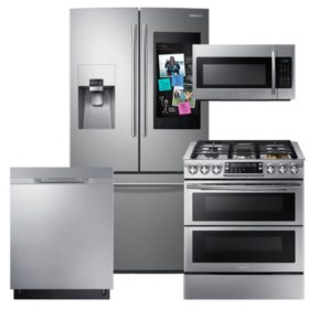 SAMSUNG Family Hub ™ Refrigerator, Slide-In Gas Flex Duo™ Range , Microwave, and Dishwasher Package - Black Stainless Steel - RF265BEAESR, ME18H704SFS, NX58K9850SS, DW80K5050US
