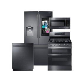 SAMSUNG Family Hub ™ Refrigerator, Flex Duo™ Gas Range, Microwave, and Dishwasher Package - Black Stainless Steel - RF263BEAESG, ME18H704SFG, NX58M6850SG, DW80K7050UG