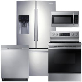 SAMSUNG Family Hub Refrigerator, Electric Range, Microwave, and Dishwasher Package - Stainless Steel - RF263BEAESR, ME18H704SFS, NE59M4320SS, DW80K5050US