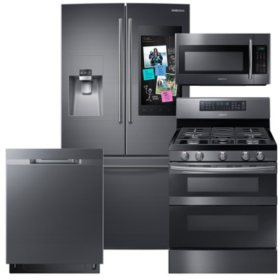 SAMSUNG Family Hub ™ Refrigerator, Flex Duo™ Gas Range, Microwave, and Dishwasher Package - Black Stainless Steel - RF265BEAESG, ME18H704SFG, NX58M6850SG, DW80K5050UG