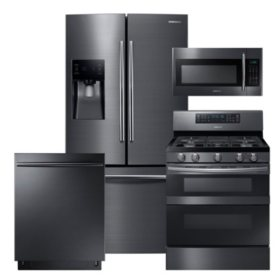 SAMSUNG 3-Door Refrigerator, Flex Duo™ Gas Range, Microwave, and Dishwasher Package - Black Stainless Steel - RF263BEAESG, ME18H704SFG, NX58M6850SG, DW80K7050UG
