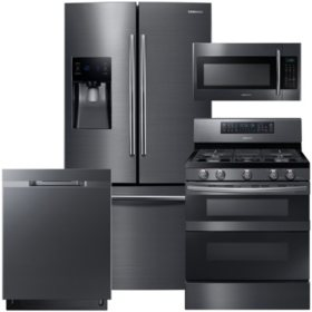 SAMSUNG 3-Door Refrigerator, Flex Duo™ Gas Range, Microwave, and Dishwasher Package - Black Stainless Steel - RF263BEAESG, ME18H704SFG, NX58M6850SG, DW80K5050UG