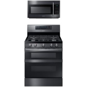 SAMSUNG Flex Duo™ Gas Range and  Microwave Package - Black Stainless Steel - ME18H704SFG, NX58M6850SG