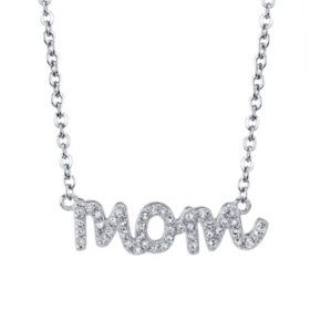 "Sterling Silver ""Mom"" 0.13 CT. T.W. Diamond Necklace"