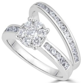 1.00 CT. T.W. Diamond Bridal Set in 14K White Gold (HI, I1)