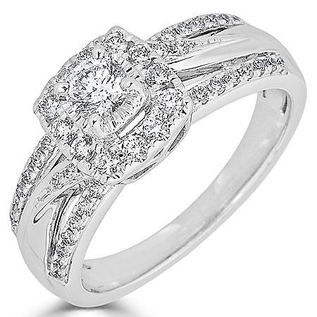 0.61 CT. T.W. Diamond Ring in 14K White Gold (HI, I1)