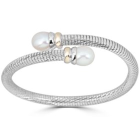 Freshwater Pearl Bypass Bangle in Italian Sterling Silver and 14K Yellow Gold