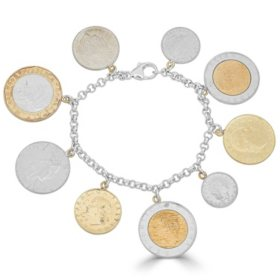 Lire Coin Bracelet in Italian Sterling Silver & 18K Yellow Gold Plated