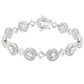 Sterling Silver Lab White Sapphire Framed Bracelet
