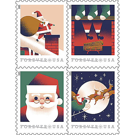 USPS Forever First Class Holiday Delights Postage Stamps, Book of 20 Stamps