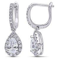 Allura 1.36 CT.T.W. Round and Pear-Cut Certified Diamond Halo Teardrop Earrings in 14k White Gold