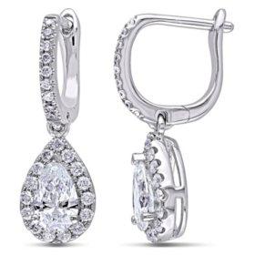 Allura 1.4 CT Round and Pear-Cut Certified Diamond Halo Teardrop Earrings in 14k White Gold