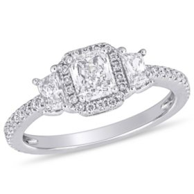 Allura 0.95 CT. T.W. Radiant, Trapezoid and Round-Cut Diamond Cluster Engagement Ring in 14k White Gold
