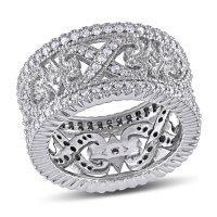 Allura 0.95 CT. Diamond Vintage Wedding Band in 14k White Gold