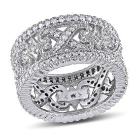 Allura 1 CT Diamond Vintage Wedding Band in 14k White Gold