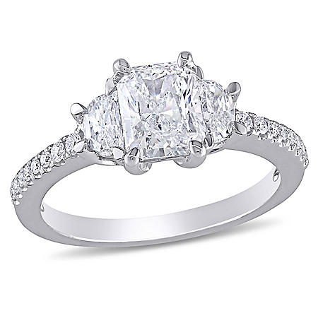 Allura 1.5 CT Radiant, Half Moon and Round-Cut Diamond 3-stone Engagement Ring in 14k White Gold